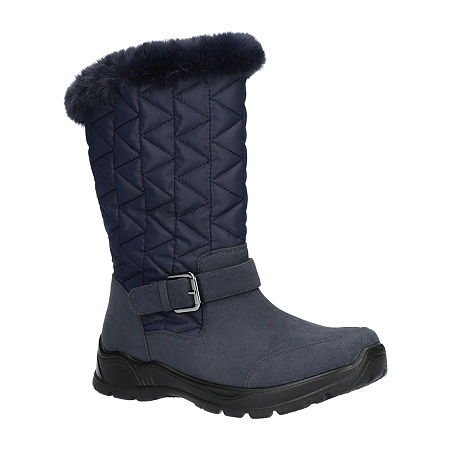 Easy Street Womens Boulder Waterproof Winter Boots Flat Heel, 9 Medium, Blue