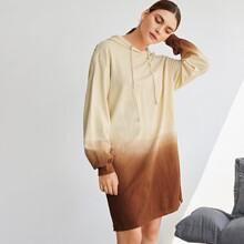 Farbverlauf Sweatshirt Kleid mit Kordelzug Detail