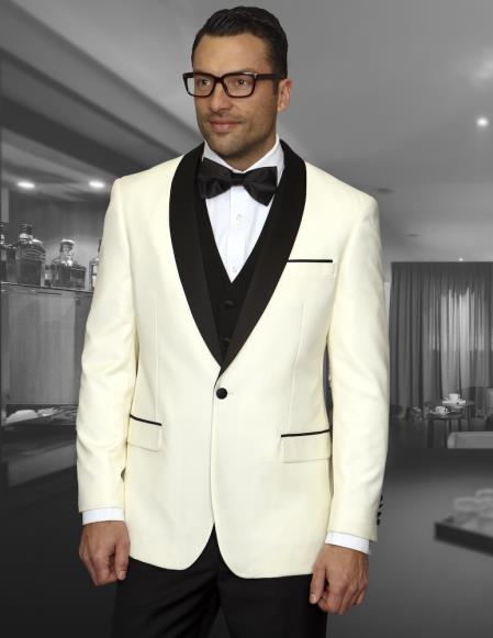 Mens Cream Shawl Collar Jacket 1 Button Blazer Sport coat Black Lapel