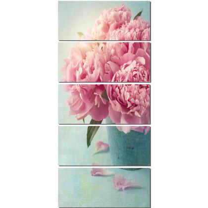 PT10024-401V Pink Peony Flowers In Vase - Large Floral Wall Art Canvas - 28X60- 5