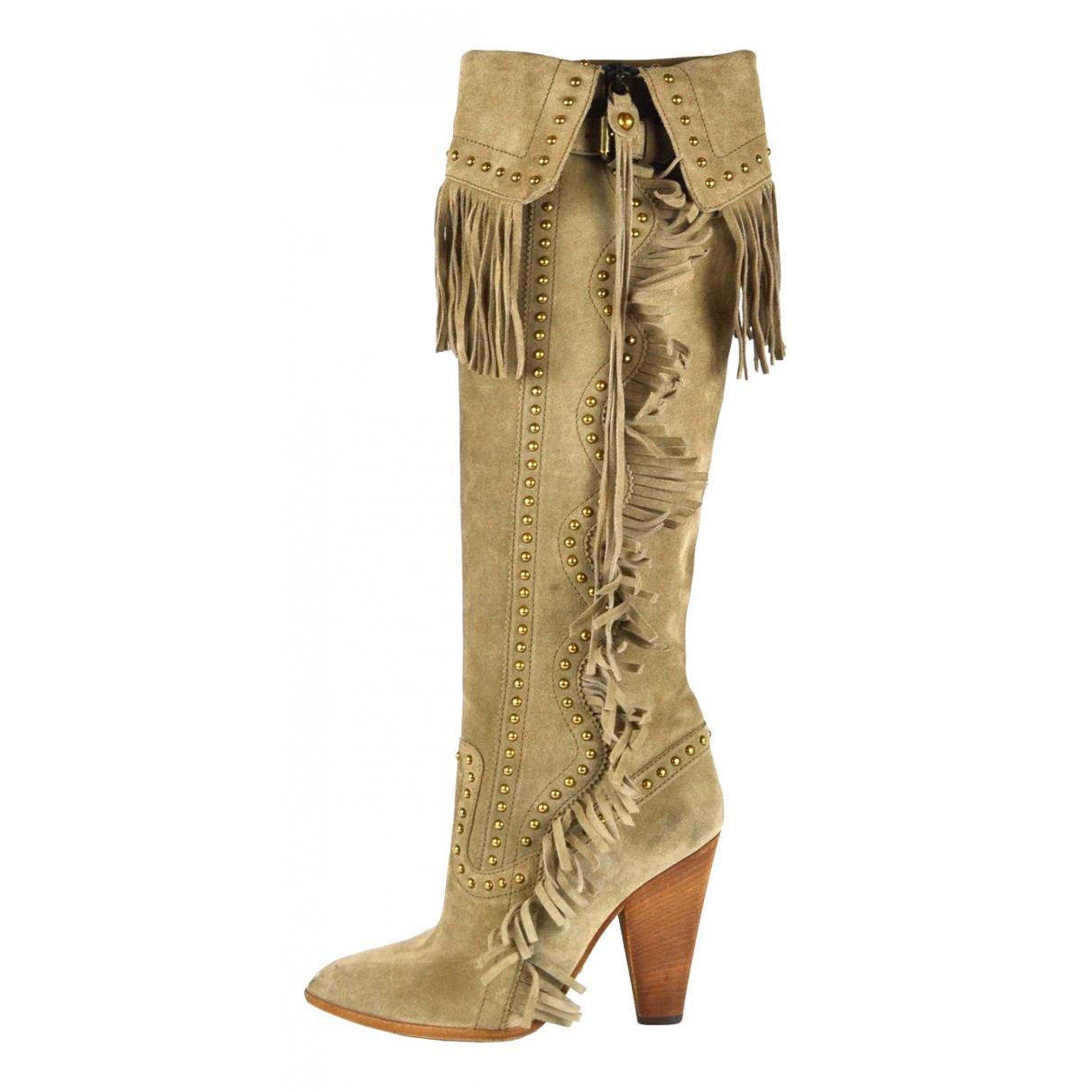 Dolce & Gabbana - Bottes   pour femme en suede - beige