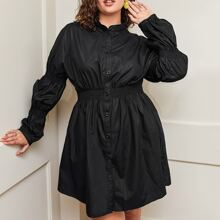 Plus Gathered Sleeve Button Front Shirred Detail Dress
