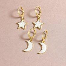 2 pares pendientes con luna