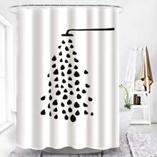 1pc Waterdrop Print Shower Curtain With 12hooks