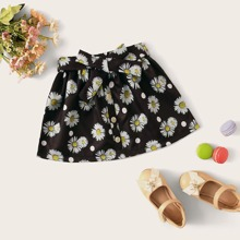 Toddler Girls Daisy Floral Button Front Belted Skirt