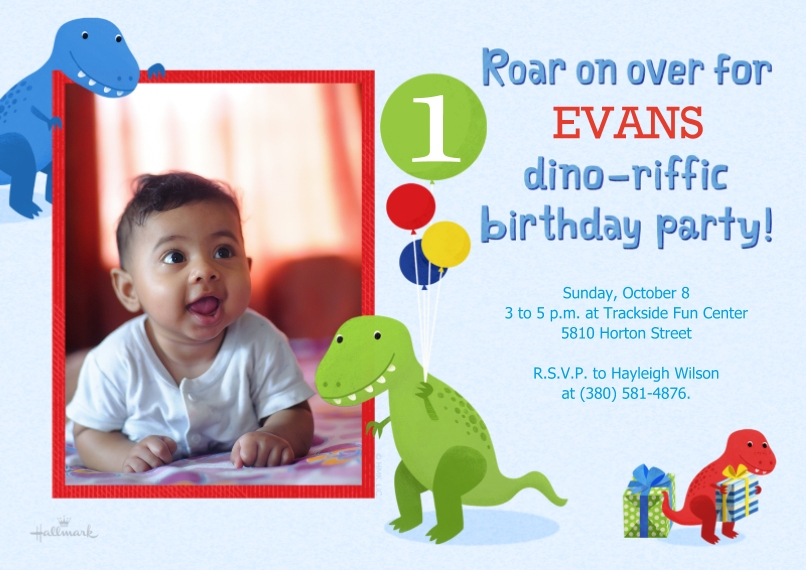 1st Birthday Invitations 5x7 Cards, Premium Cardstock 120lb, Card & Stationery -Roaron Over Dinos