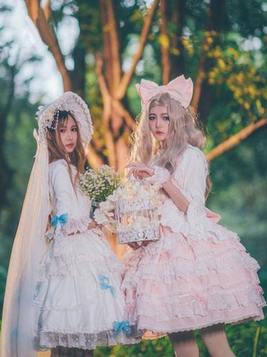 Milanoo Lolita Wedding Dress OP White Chiffon Ruffle Lolita One Piece Dress