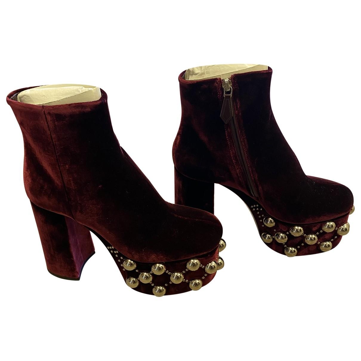 Miu Miu \N Burgundy Velvet Ankle boots for Women 38.5 EU