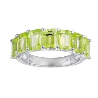 7-Stone Emerald-Cut Gemstone Wedding Band Ring, Sterling Silver (Peridot - 7)