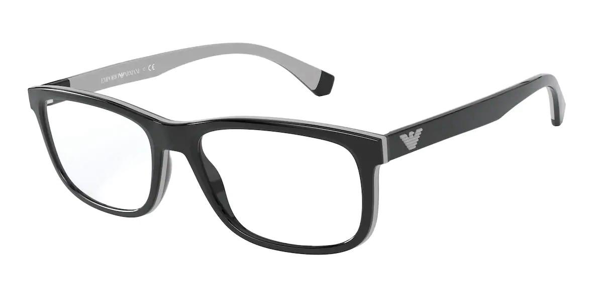 Emporio Armani EA3164 5001 Men's Glasses Black Size 54 - Free Lenses - HSA/FSA Insurance - Blue Light Block Available