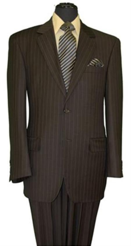 Mens Brown Stripe 2 Button Suit