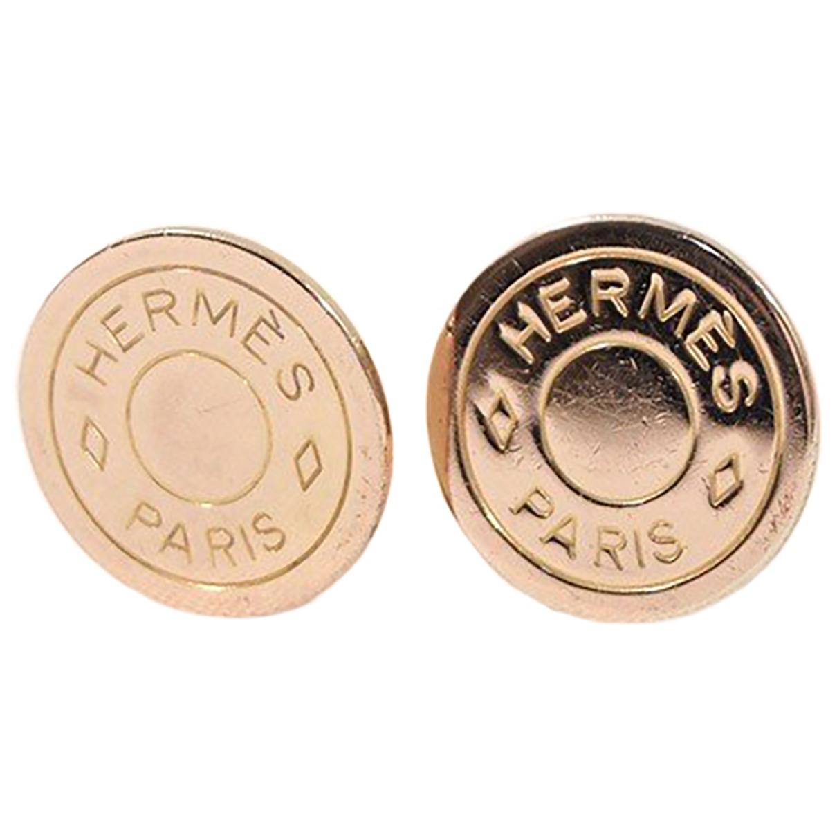 Pendientes Clou de Selle de Cuero Hermes