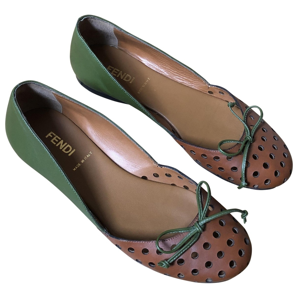 Fendi \N Green Leather Ballet flats for Women 36.5 EU
