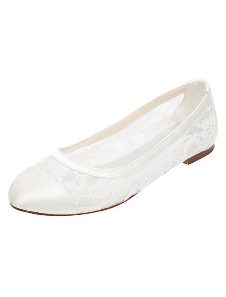 Milanoo Zapatos de novia de encaje Plano(<2.54cm) Zapatos de Fiesta Zapatos marfil  Plana Zapatos de boda de puntera redonda de encaje