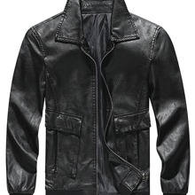 Men Solid Zip Up PU Leather Jacket