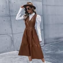 PU Kleid mit Knopfen vorn und Rueschen ohne Bluse