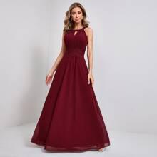 Chiffon Maxi Kleid mit Kontrast Guipure Spitze und Schluesselloch Kragen