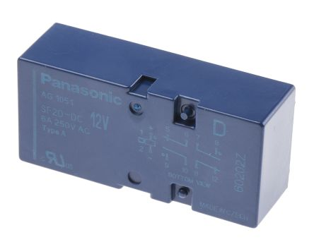 Panasonic , 12V dc Coil Non-Latching Relay DPDT, 6A Switching Current PCB Mount