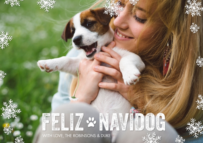 Christmas Photo Cards Flat Matte Photo Paper Cards with Envelopes, 5x7, Card & Stationery -Feliz Navidog by Tumbalina