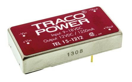 TRACOPOWER TEL 15 15W Isolated DC-DC Converter Through Hole, Voltage in 9 → 18 V dc, Voltage out 12V dc
