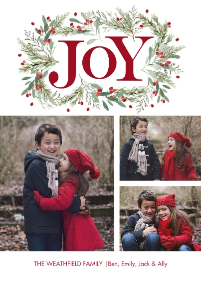 Christmas Photo Cards 5x7 Cards, Premium Cardstock 120lb with Elegant Corners, Card & Stationery -Christmas Joy Garland by Tumbalina