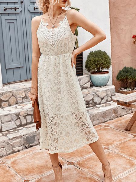 Milanoo White Lace Dresses Sleeveless Sexy Slip Dresses
