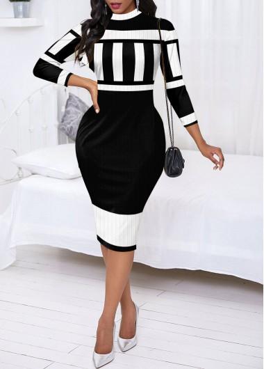 Black Dresses Mock Neck Monochrome Stripe Sweater Dress - L