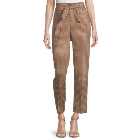 Liz Claiborne Regular Fit Straight Trouser, 10 , Brown