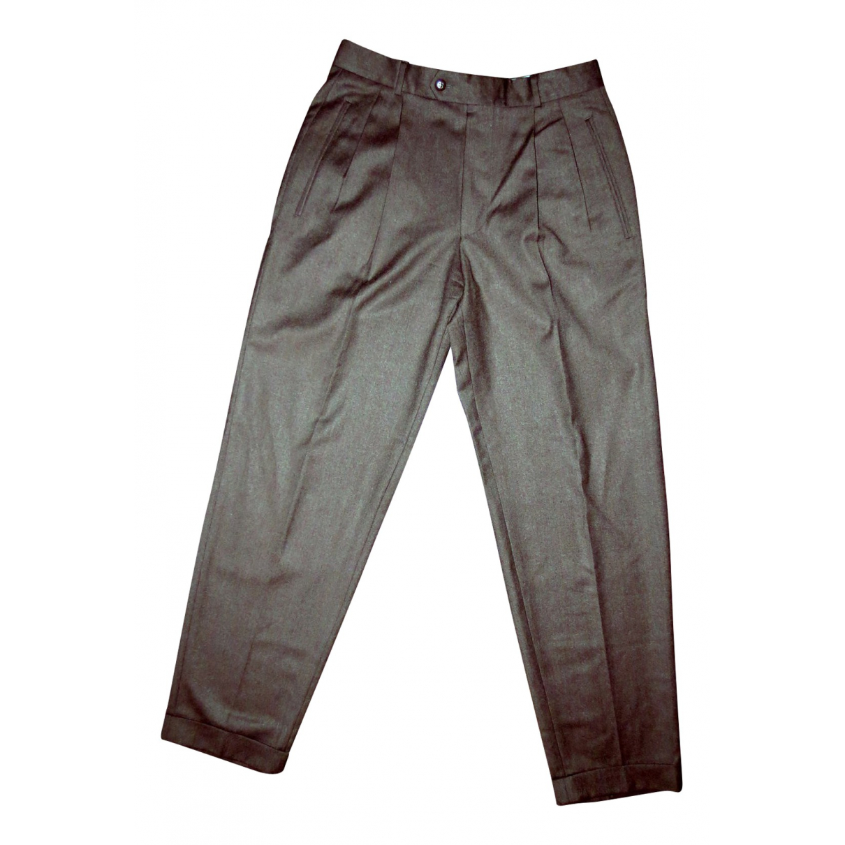 Boss \N Anthracite Wool Trousers for Women 46 IT