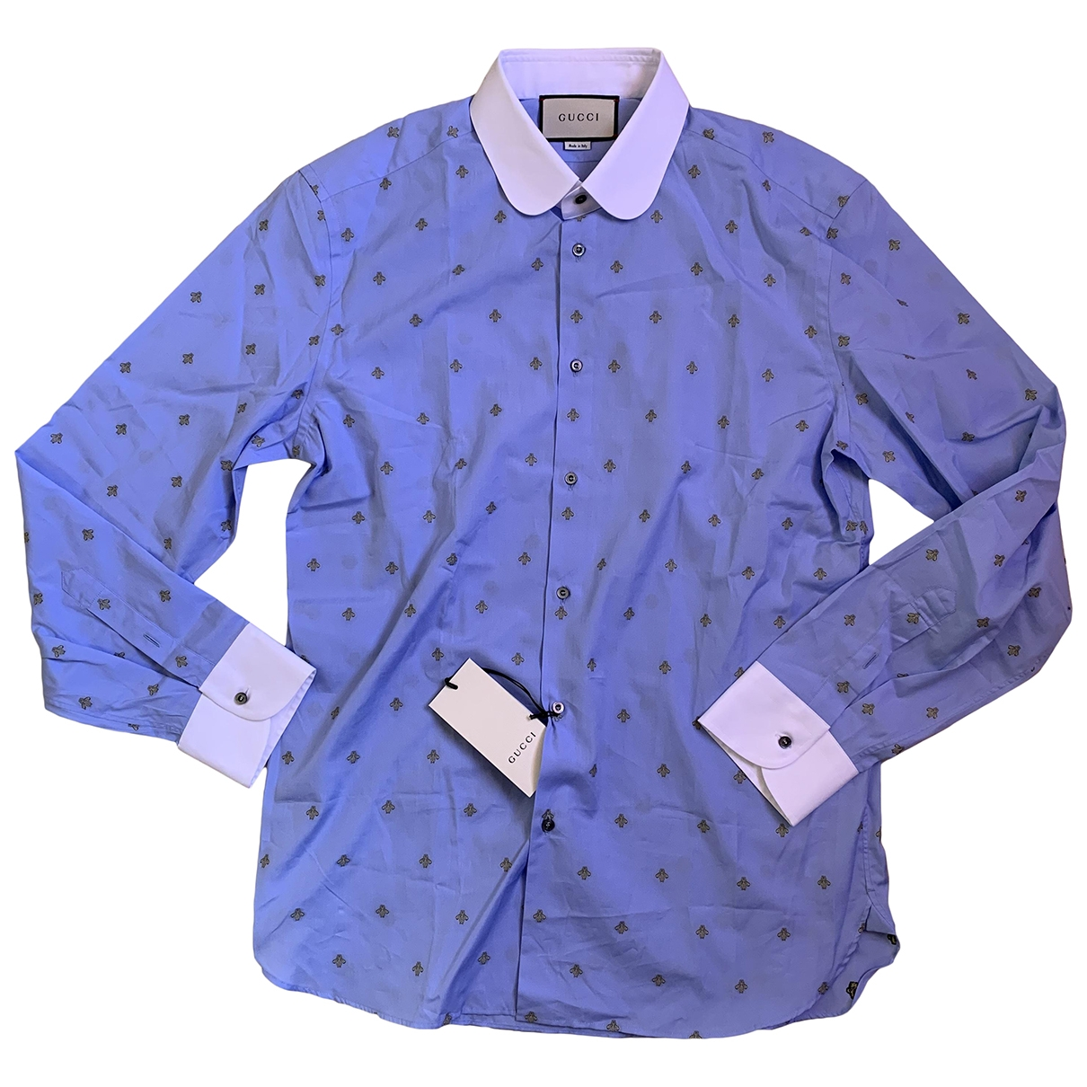 Gucci \N Blue Cotton Shirts for Men 43 EU (tour de cou / collar)