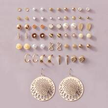 30pairs Faux Pearl & Flower Decor Earrings Set