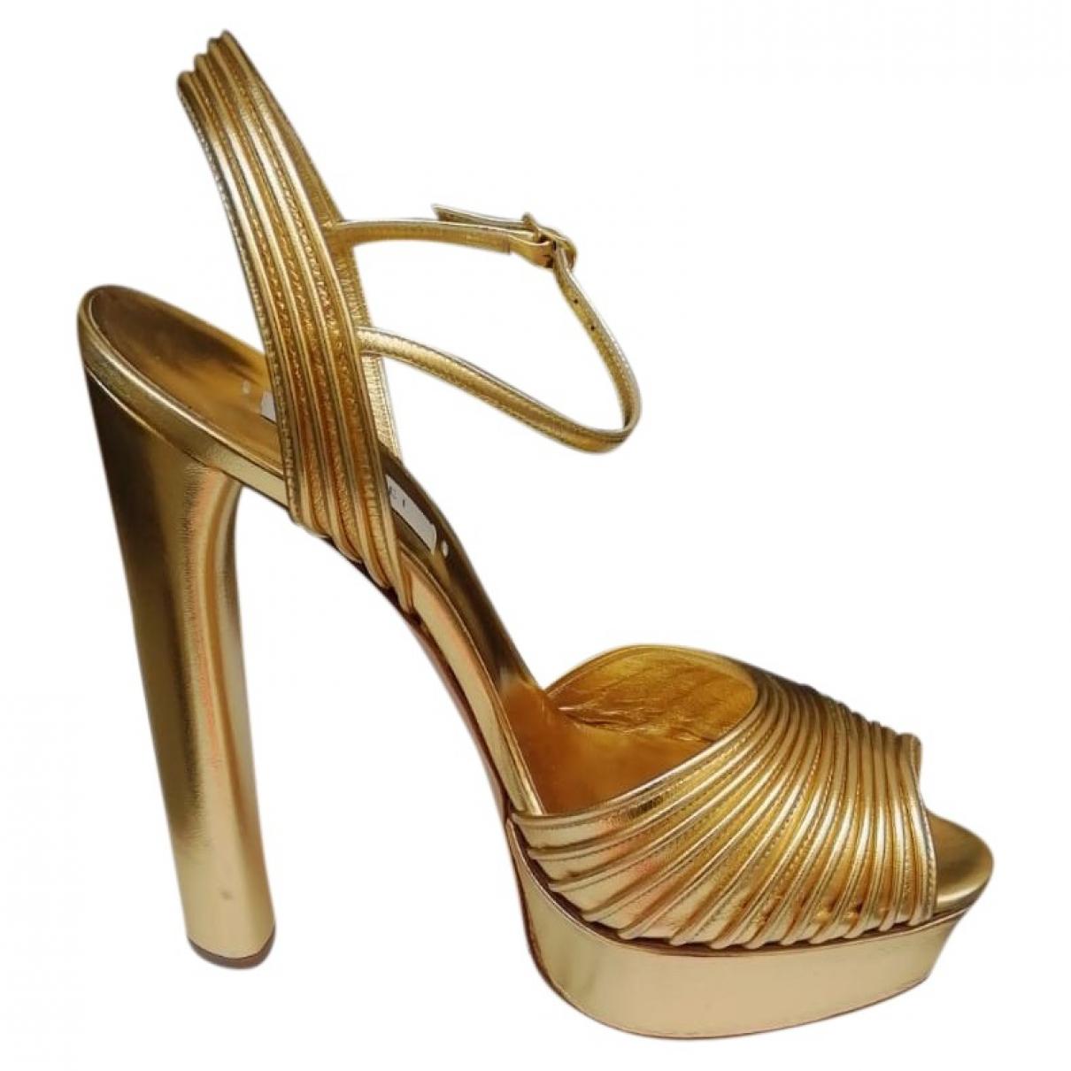 Casadei - Sandales   pour femme en cuir - dore