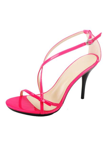 Milanoo High Heel Sandals Womens Criss Cross Open Toe Stiletto Heel Sandals