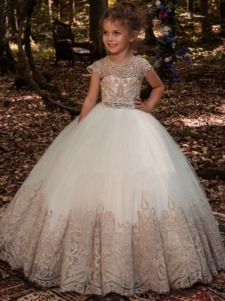 Milanoo Flower Girl Dresses Jewel Neck Short Sleeves Lace Kids Princess Dresses