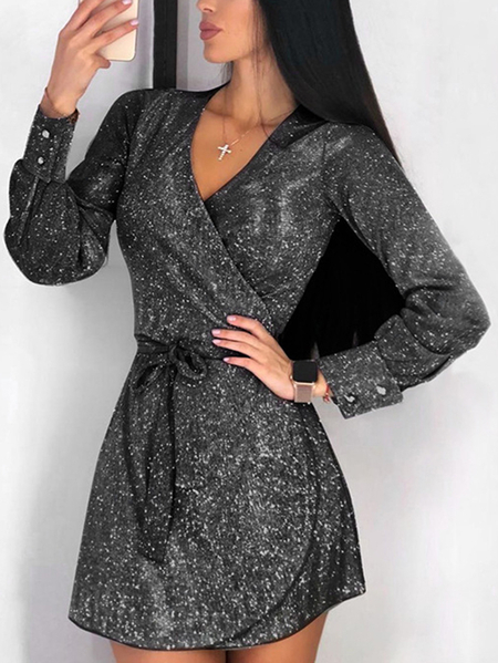 Yoins Black Glitter V-neck Mini Dress