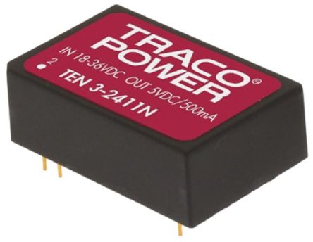 TRACOPOWER TEN 3N 3W Isolated DC-DC Converter Through Hole, Voltage in 18 → 36 V dc, Voltage out 5V dc