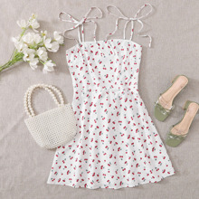Knot Strap Shirred Back Cherry Print Slip Dress