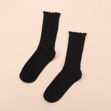 Simple Solid Ribbed Socks
