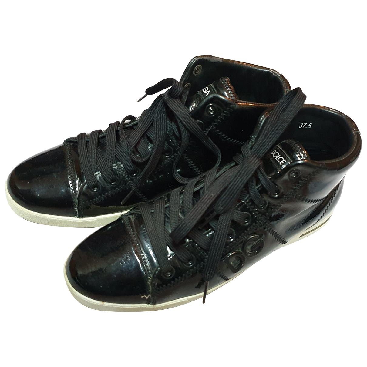 Dolce & Gabbana - Baskets   pour femme en cuir verni - noir