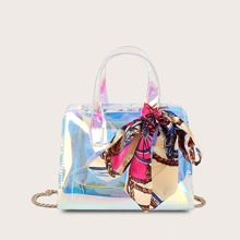 Holographic Twilly Scarf Decor Satchel Bag