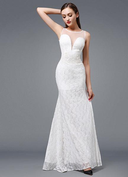 Milanoo Beach Wedding Dress Ivory Lace Evening Dress Sexy Plunging Mermaid Sleeveless Floor-length Party Dress
