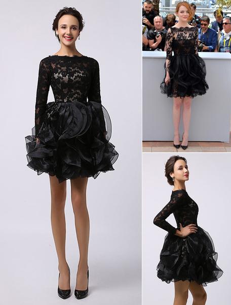 Milanoo Vestidos de celebridades Emma Stone Cannes Negro de manga larga Vestido de organza de encaje transparente