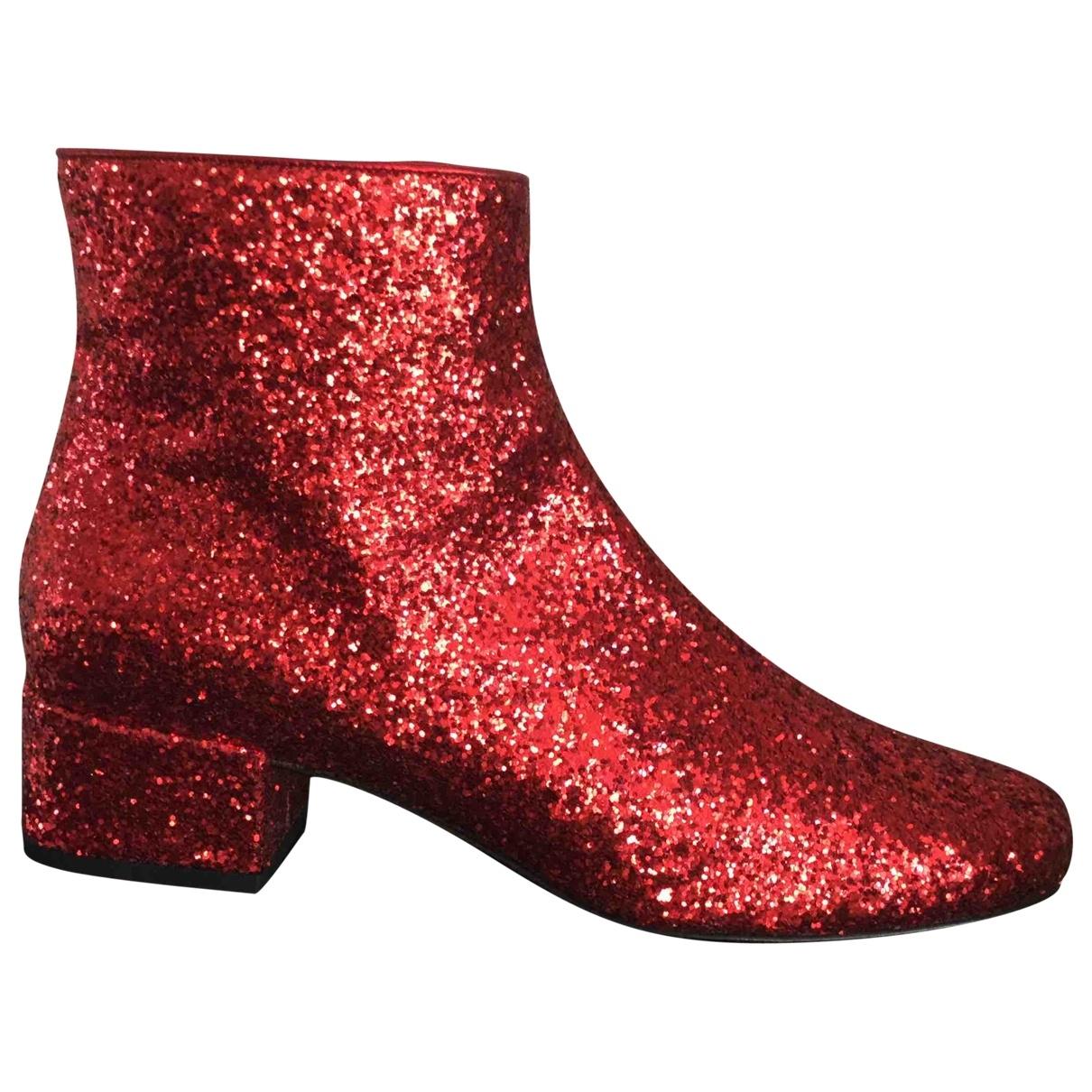 Saint Laurent - Boots   pour femme en cuir - rouge