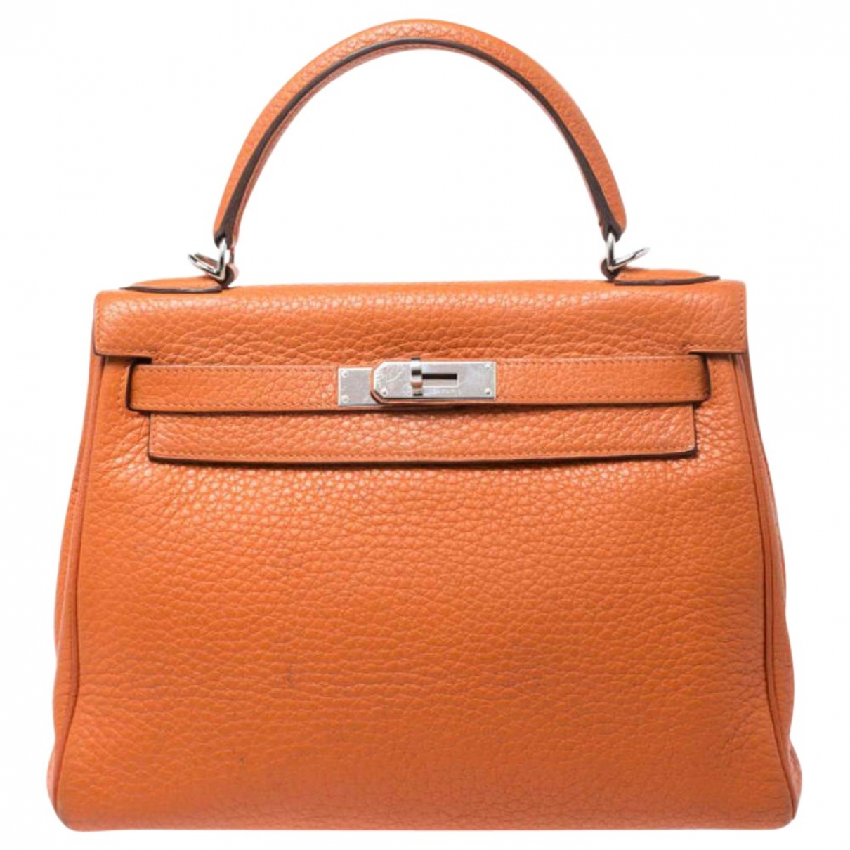 Hermes - Sac a main Kelly 28 pour femme en cuir - orange