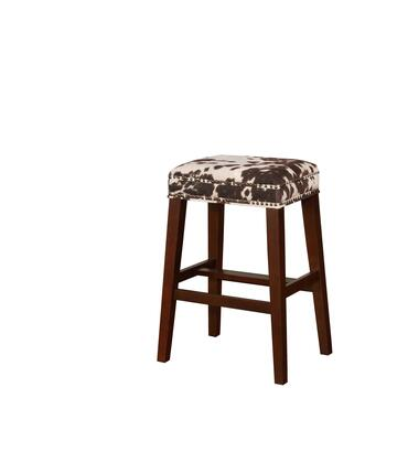 BS102COW01U Walt Collection Bar Height Stool with Backless Design Traditional Style  Solid Wood Frame and Polyester Upholstery in Brown Cow Print