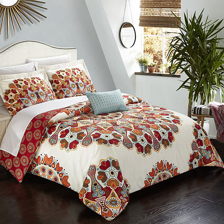 Chic Home Maxim Duvet Cover Set, One Size , Red