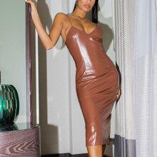 Split Hem Solid PU Dress