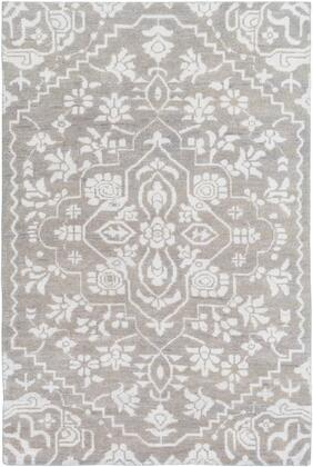 Kinnara KNA-6000 8' x 10' Rectangle Traditional Rug in Light Gray  Silver