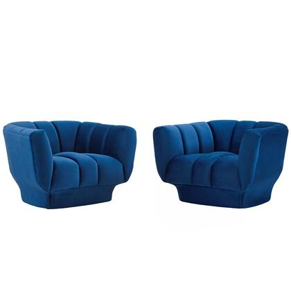Entertain Collection EEI-4085-NAV Set of 2 Armchairs with Vertical Channel Tufting  Rimmed Base  Dense Foam Padding and Stain-Resistant Velvet