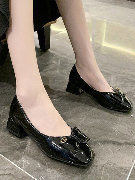 Milanoo Mid-Low Heels For Women Chic Round Toe Flat Heels Bows Glamorous Ecru White Pumps & Heels